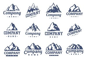 Vector set of mountain logo