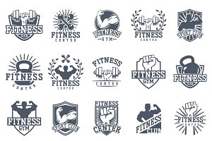 Monochrome fitness vector logo
