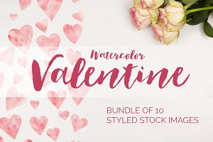 Watercolor Valentine Photo Bundle