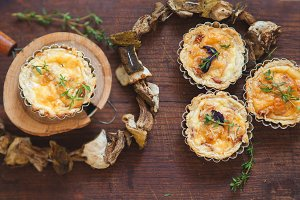 Quiche lorraine with mushrooms