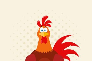 Red Rooster Bird Mascot Character