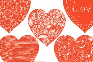 Red Valentine hearts clipart set