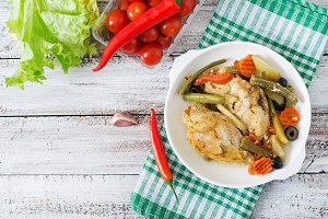 Baked, diet and healthy a chicken