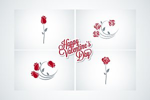 Valentines day rose set  background.