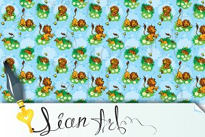 Seamless pattern with funny lion