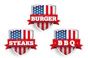 USA burger, Steaks, BBQ shields