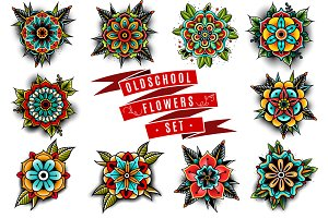 oldschool flowers set