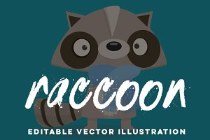 Hand-Drawn Raccoon Vector Cartoon