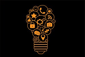 Light bulb with media icons orange