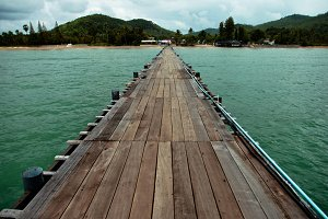 Wooden bridge over the water