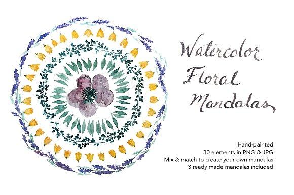 Watercolor Floral Mandalas DIY Set