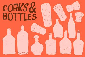 Wine Liquor Bottles - Vector Pack