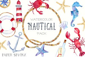 Nautical Watercolor Graphic Pack