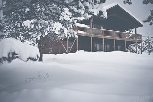 Cozy Cabin Mountain Chalet snow 1