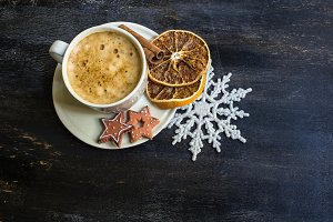 Christmas coffee with milk