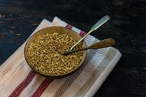 Organic buckwheat in a vintage bowl