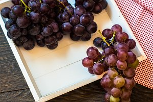 Fresh organic grapes on a plate