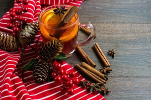 Mulled wine with Christmas decoratio