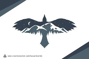 Raven Mountain Logo Template