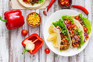 Mexican tacos with meat, corn