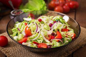 Dietary salad with fresh vegetables