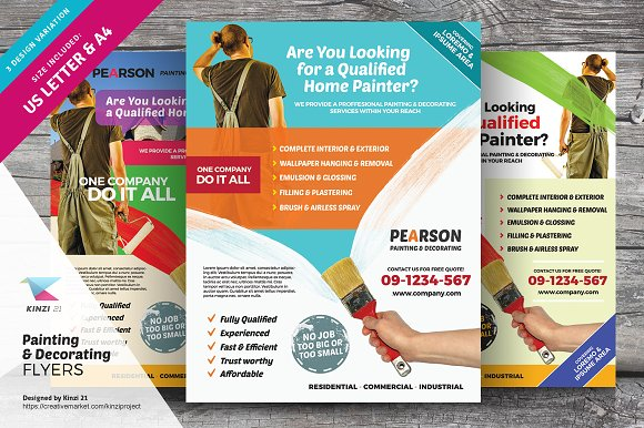 Painting Decorating Flyers Flyer Templates Creative Market