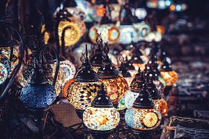 Vintage colorful Turkish lamps