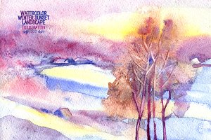 Watercolor winter sunset landscape