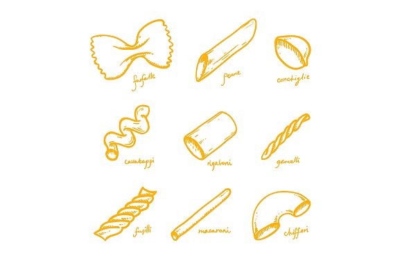 Abstract Pasta And Macaroni Types