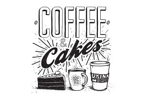 Coffee & Cakes pen hand illustration