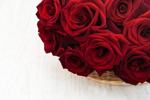 Basket with Fresh Red roses
