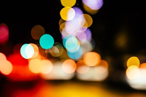 City night defocused lights
