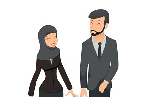 Man and woman in Muslim hijab
