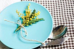 Festive spring table setting