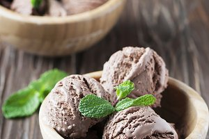 Cold ice cream with chocolate