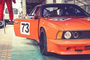 Orange race car