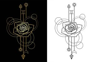 Rose Tattoo+2Seamless Patterns