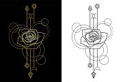 Rose Tattoo+2Seamless Patterns