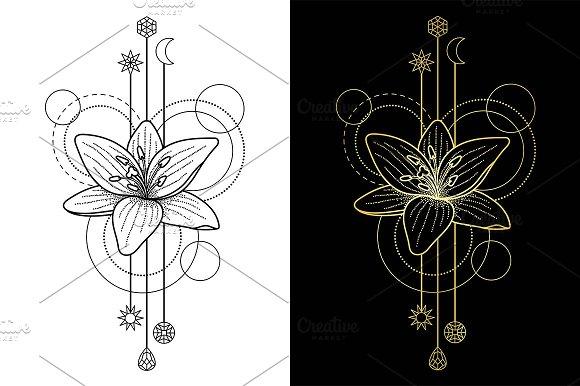 Lily Tattoo+2 Seamless Patterns