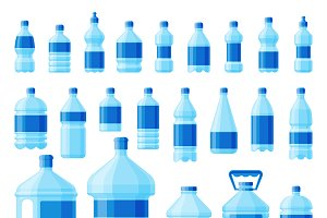 Water plastic bottle set vector