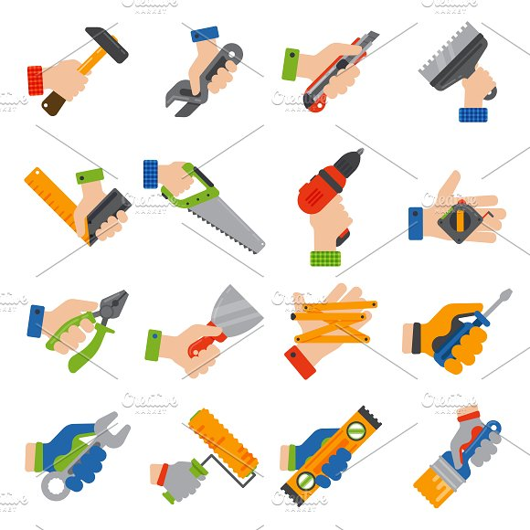Hands with construction tools vector ~ Illustrations ...