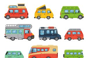 Caravan business car vector set