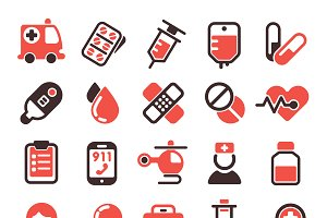 Medical emergency vector icons