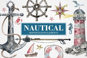 Nautical Watercolour Elements