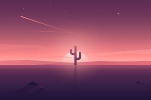 Landscape-cactus. Flat design