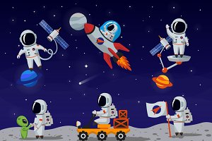 Astronauts vector characters set