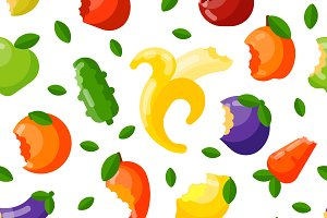 Fruit and vegetable seamless pattern