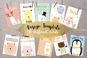 10 cute lovely design animal cards1#