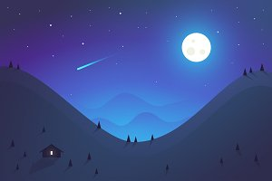 Night landscape. Flat design