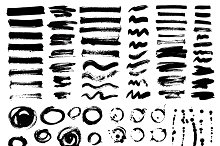 Vector large set of brush strokes